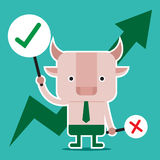 Character design and business concept. Illustration of bull symb stock illustration