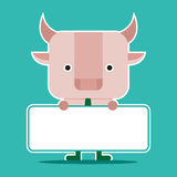 Character design and business concept. Illustration of bull symb Stock Image