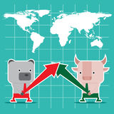 Character design and business concept. Illustration of bull vs b Royalty Free Stock Photos
