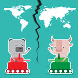 Character design and business concept. Illustration of bull vs b Stock Photography
