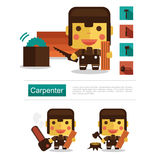Character design Carpenter career, icon vector with white background Stock Image