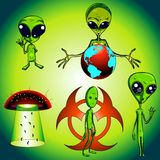 Character Design Collection 010: Aliens. Collection of alien characters royalty free illustration