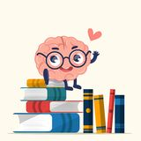 Character design cute brain for knowledge. Education. Vector illustration of pink happy brain with glasses reading a book on white background with pile of stock illustration