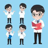 Doctor show a variety of gestures and actions in work clothes stock illustration