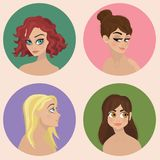 Character Design - Girls Illustration Set -. Set of four illustrations Royalty Free Stock Photography