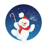 Happy cute cartoon snowman Stock Images