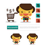 Character design Housewife career, icon vector with white background Royalty Free Stock Photos