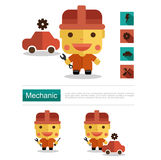 Character design Mechanic career, icon vector with white background Royalty Free Stock Photography