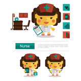 Character design Nurse career, icon vector with white background Royalty Free Stock Images