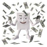 Character  distributing Dollar bills. Illustration of smiling character holding and distributing US Dollar bills, white background Royalty Free Stock Photo