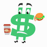 Character dollar sign with hamburger and Cup of Royalty Free Stock Photography
