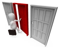 Character Doors Shows Business Person And Path 3d Rendering. Office Choice Indicating Business Person And Doorframe 3d Rendering Royalty Free Stock Photo
