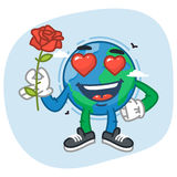 Character Earth in Love Holding Flower Rose. Vector Illustration. Mascot Character Stock Photos