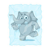 Character. Elephant frozen in ice. Big collection of isolated elephants. Vector, cartoon. Stock Images