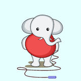 Character of elephant with skipping rope. Stock Photography