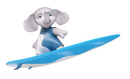 Character elephant surfer with surf board  3d rendering Royalty Free Stock Image