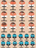 Character Emotions. Retro businessman character in 12 different emotions and 24 versions. Easy to change colors. No transparency and gradients used royalty free illustration