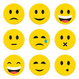 Character Emotions Happy and Sad Vector Icons Set Isolated over Stock Photo