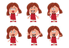 Character Emotions Set- Girls Royalty Free Stock Photo
