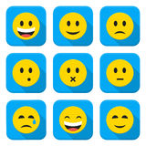 Character Emotions Vector App Icons Set Isolated over White Royalty Free Stock Images