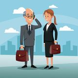 Character engineer man business woman work briefcase town. Labor day vector illustration Royalty Free Stock Photography
