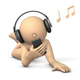 A character enjoying listening to music with headphones. 3D illustration Royalty Free Stock Image