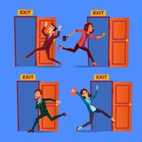 Character Evacuation To Open Door Exit Set Vector. Collection Of Evacuation Businessman And Young Woman Panic Running Out Of Building. Alarm Signalization Flat stock illustration