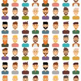 Character expressions bearded man face seamless pattern background avatar and fashion hipster hairstyle head person with Stock Photos