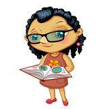 Character fashionable small girl with book Royalty Free Stock Image