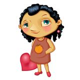 Character fashionable smiling girl with heart Royalty Free Stock Images