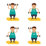 Character. fat man with dumbbells doing gisnastiku Royalty Free Stock Photos