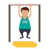 Character. fat man pulled on the bar Stock Photography