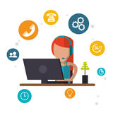 Character female call center workspace Stock Photography