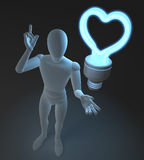 Character, figure, man having a love idea depicted by heart shaped blue neon, fluorescent light bulb. 3d rendering on dark background Royalty Free Stock Photography