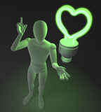 Character, figure, man having a love idea depicted by heart shaped green neon, fluorescent light bulb. 3d rendering on dark background Royalty Free Stock Photography