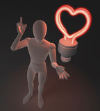 Character, figure, man having a love idea depicted by heart shaped red neon, fluorescent light bulb. 3d rendering on dark background Royalty Free Stock Photo