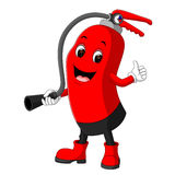 Character of fire extinguisher giving thumb up. Cartoon Character of fire extinguisher giving thumb up Stock Photography