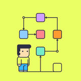 Character follows a logical solution to their task. Conceptual illustration. line art style Stock Photos