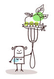 Character with fork - vegetables Royalty Free Stock Photo
