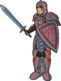 Warrior in plate armour. Character in full heavy armour on white background Stock Image
