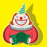 Character funny clown playing the accordion in a striped cap. vector image stock illustration