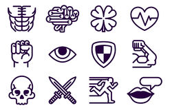 Character Game Attributes Icon Set. An icon set of role playing or video game app character stat attribute icons Stock Image