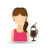 character girl cup coffee cool straw icon graphic Royalty Free Stock Image