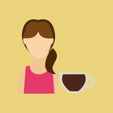 Character girl cup coffee cool straw icon graphic Stock Photos