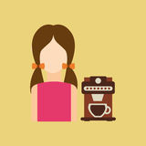 Character girl cup coffee espresso icon graphic Stock Photography