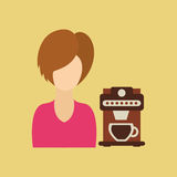 Character girl cup milk straw icon graphic Royalty Free Stock Photos