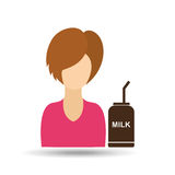 Character girl cup milk straw icon graphic Royalty Free Stock Photography