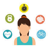 Character girl fitness gym icons Stock Image