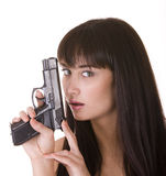 Character girl with gun.Problem. Royalty Free Stock Photo