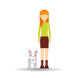 Character girl pet french bulldog graphic. Vector illustration eps 10 Stock Photos